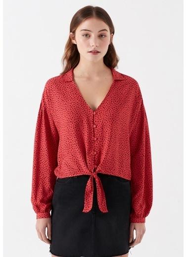Mavi Kırmızı Bağlama Detaylı Gömlek Kırmızı